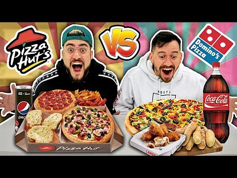 DOMINOS VS. PIZZA HUT CHALLENGE !! *ENTIRE MENU* (Most Popular Items🍕🍗)