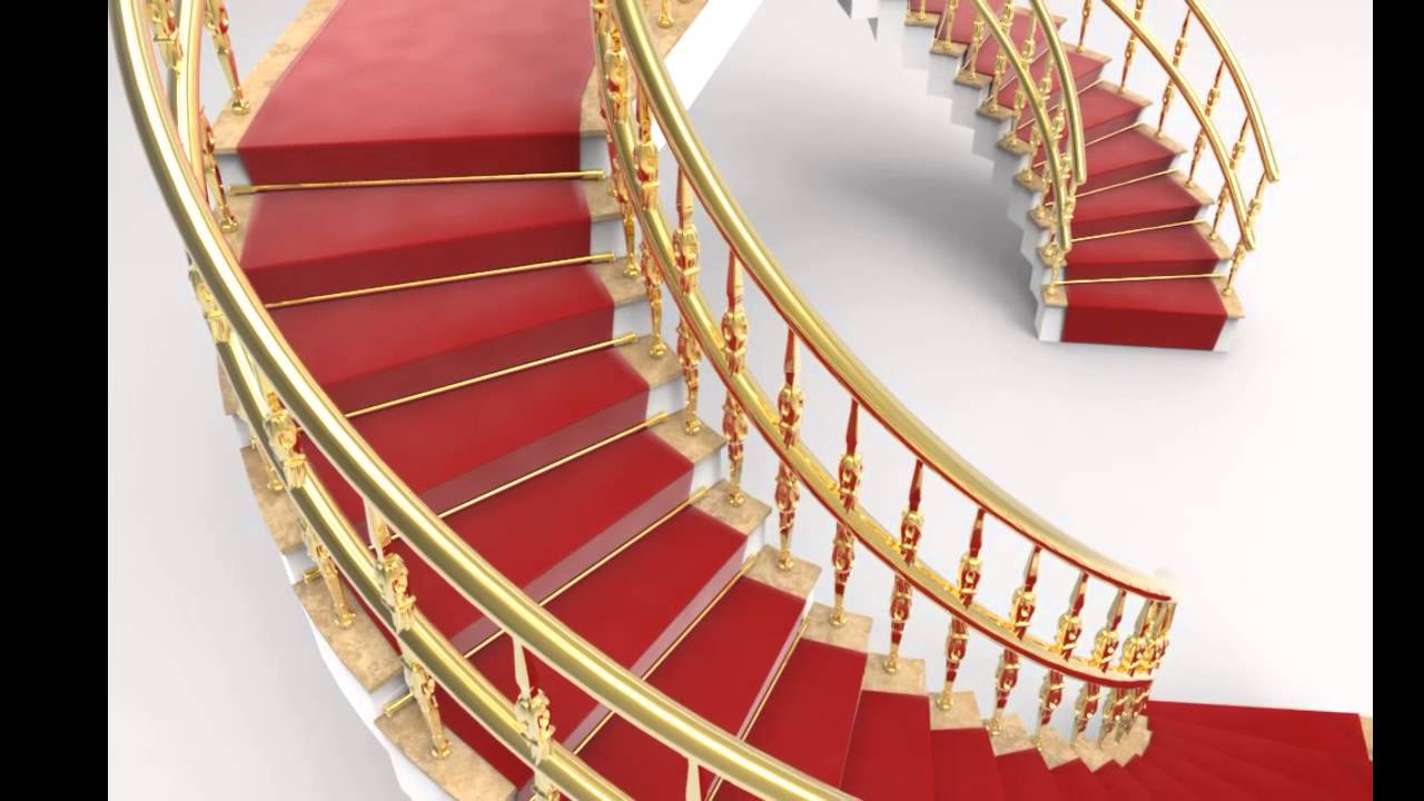 Double Stairs With Carpet And Handrail 3d Model Preview