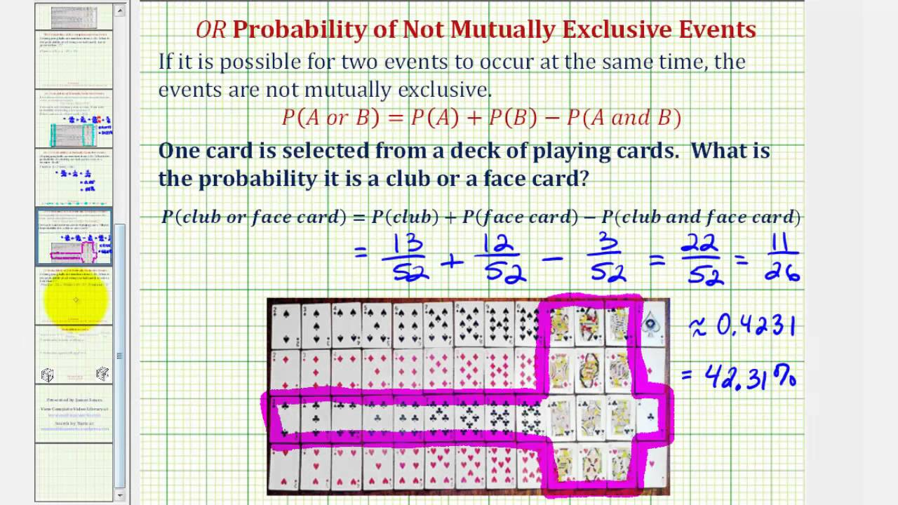 Ex Probability Of Events That Are Not Mutually Exclusive Events