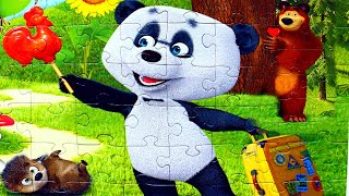 Маша и Медведь Панда Дальний родственник собираем пазлы для детей с героями мультика Маша и Медведь