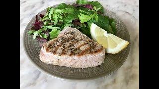 Стейк из тунца на сковороде-гриль | Как вкусно приготовить тунца