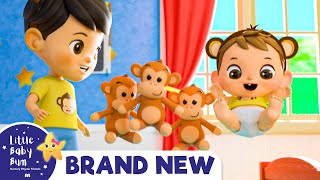 5 Little Monkeys Jumping on The Bed | Brand New Nursery Rhymes & Kids Songs | Little Baby Bum