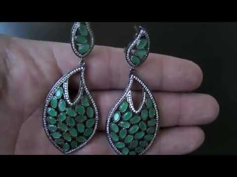 Серебряные серьги с натуральными изумрудами