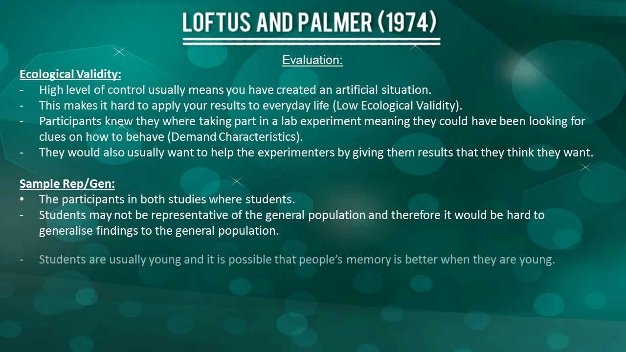 loftus and palmer evaluation Everything needed for the a level ocr psychology core studies paper for cognitive psychology included is notes on each grant et al's, loftus and palmer's, moray's and simons and chabris' studies, as well as evaluations of each of these and comparisons of them.
