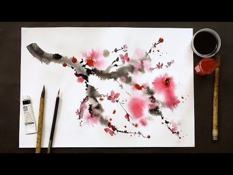 Chinese painting technique using bamboo brushes and watercolor paints