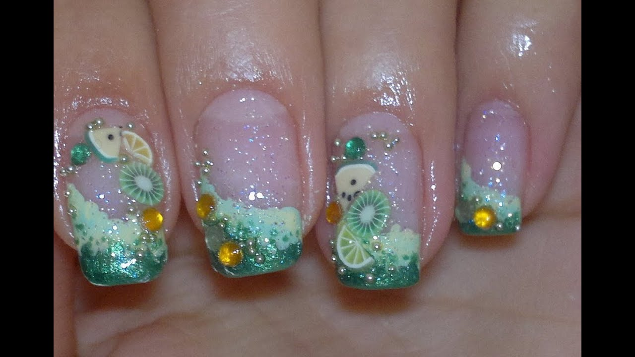 Green With Fimo Video Nail Art Tutorial Youtube