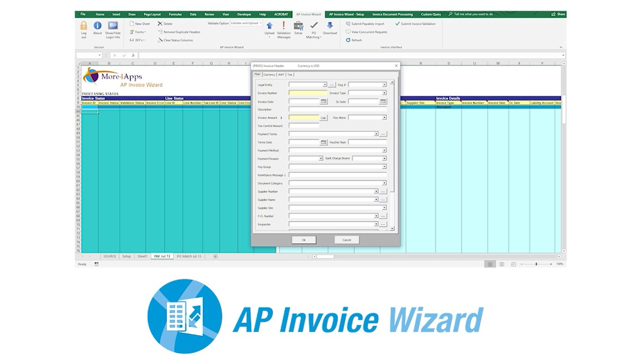 AP Invoice Wizard Overview. The More4Apps AP Invoice Wizard http://www.more4apps.com/product/ap-invoice-wizard/. Youtube video for project managers.