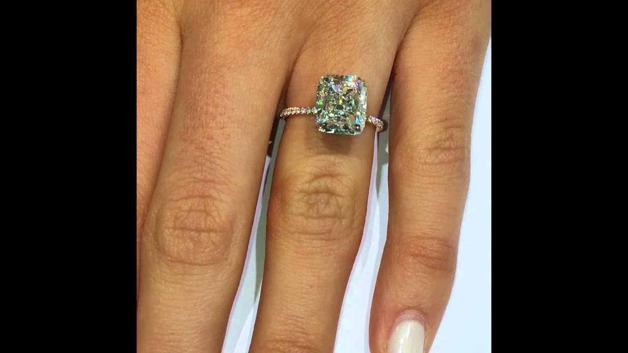 5 Carat Cushion Diamond Engagement Ring In Rose Gold Setting