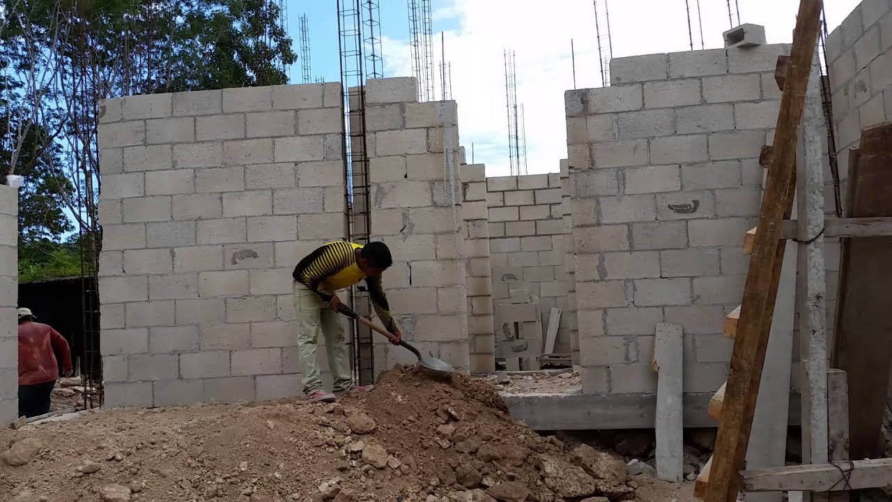 Muros de block 2 casa lagos cancun youtube for Construccion casas