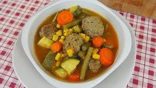 Sopa de Albóndigas con Vegetales - Deliciosa!