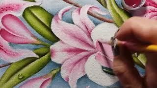 Lírio rosa escuro – Parte 3 – Pintura em tecido