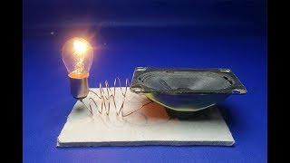 Speaker Magnet With Light Bulb 12V , Free Energy Generator