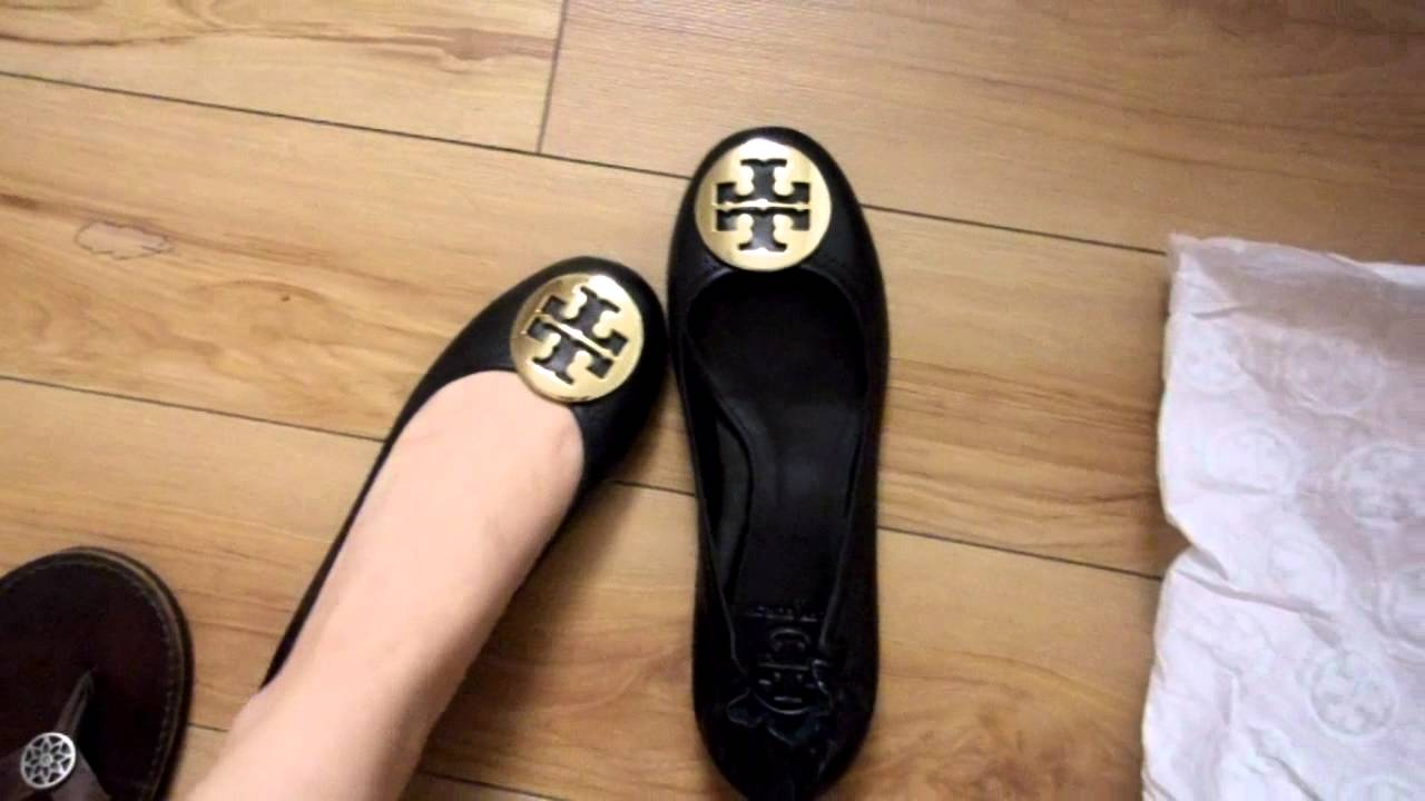 bf7c5c2979d1 my first pair of Tory Burch Reva Ballerina flats in black!! - YouTube