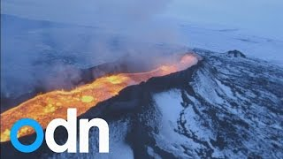Land of ice and fire: Aerial footage shows huge volcanic eruption in Iceland