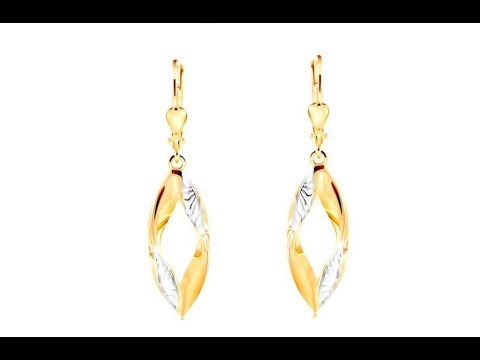 Dangling 585 gold earrings - curved grain contour with