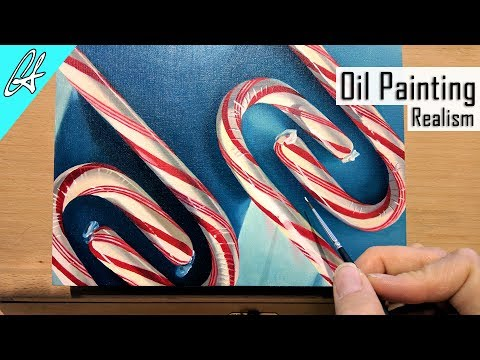 Candy Cane Realistic Oil Painting Time Lapse