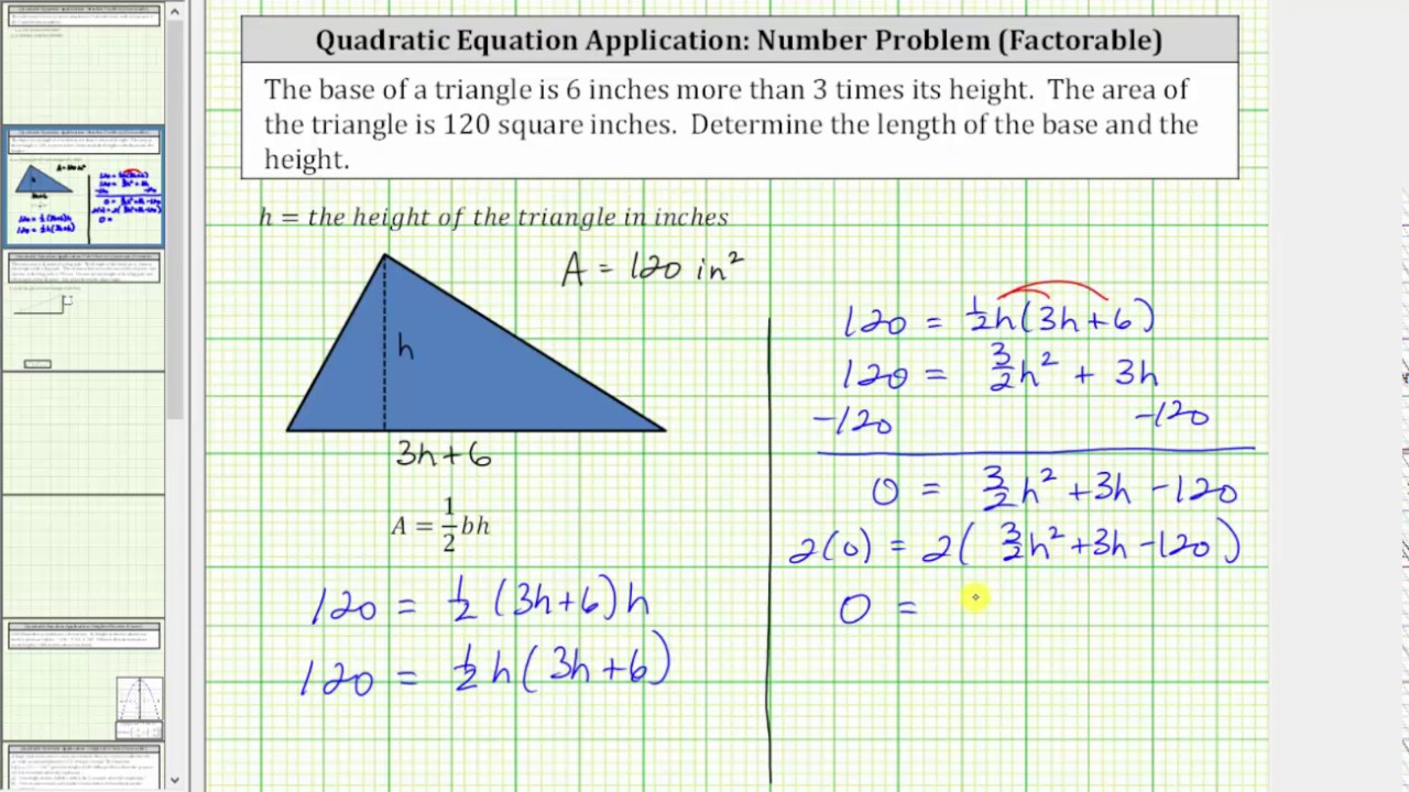 Quadratic App Find Height And Base Of A Triangle Given The Area