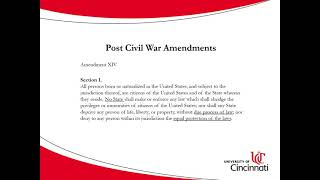 American Political Thought - Post Civil War Amendments