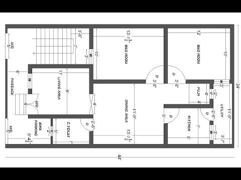 24x44 west facing house plan 2BHK house plan rent