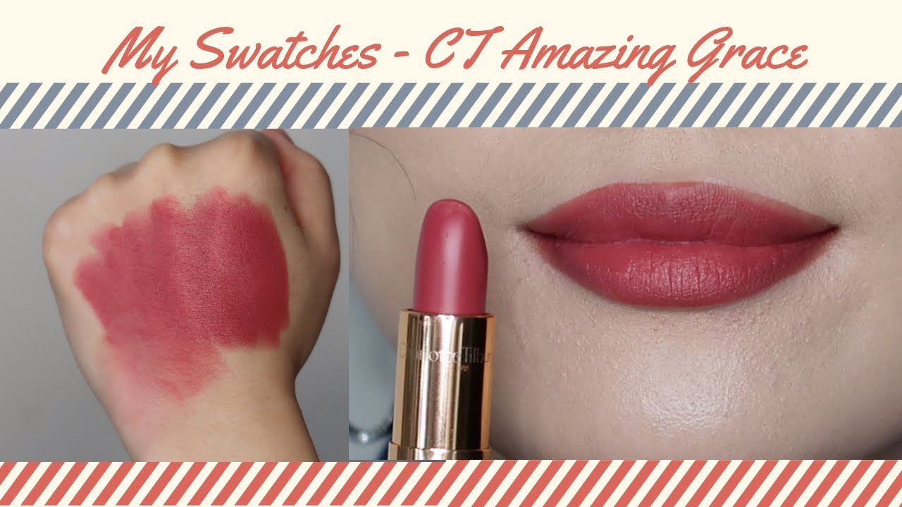 Charlotte Tilbury Matte Revolution Lipstick Amazing Grace swatches. true swatches, no filters