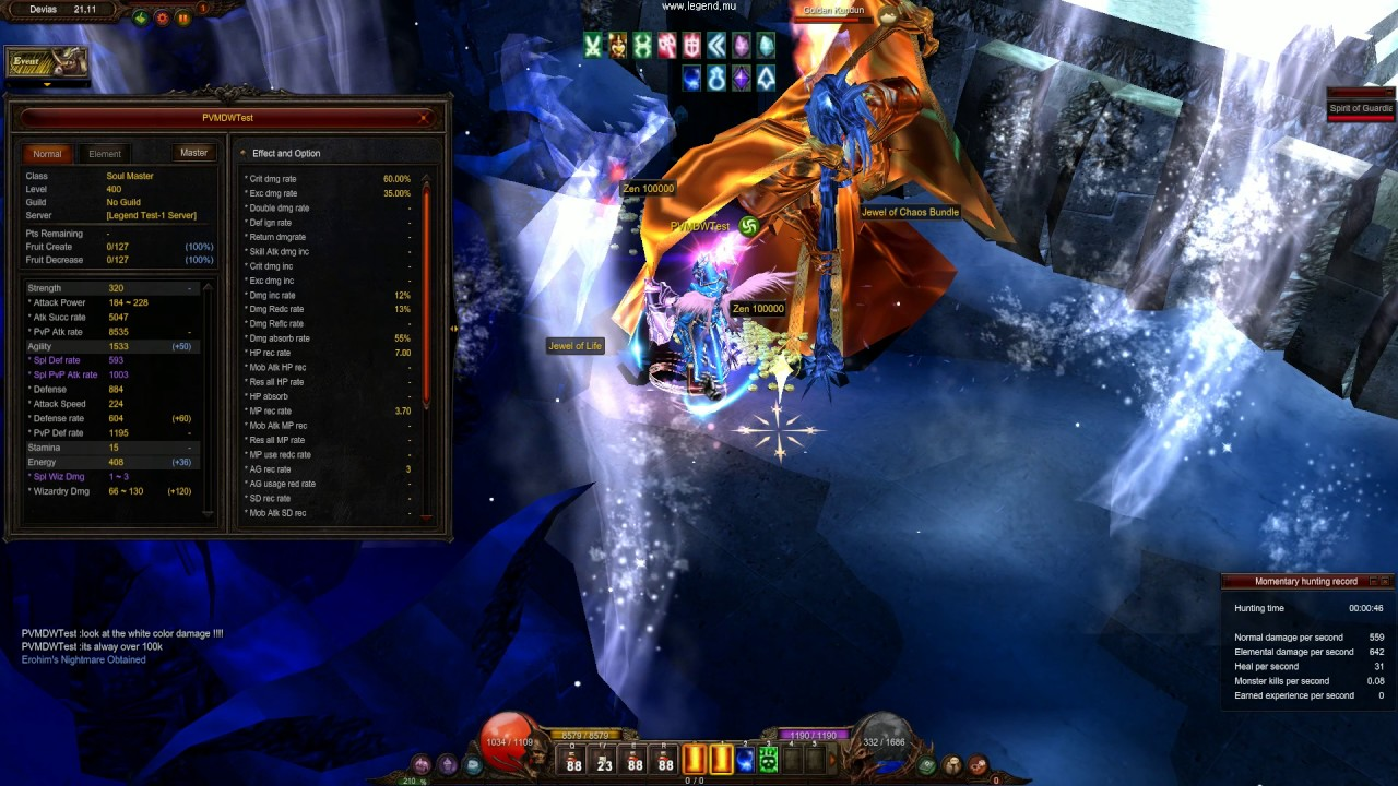 Download Agi Dark Wizard kill golden kundun - 800.000 damage - new items is too OP