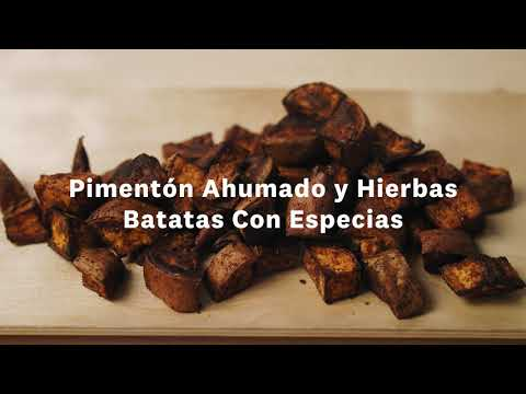 Thumbnail to launch Roasted Sweet Potatoes Spanish video