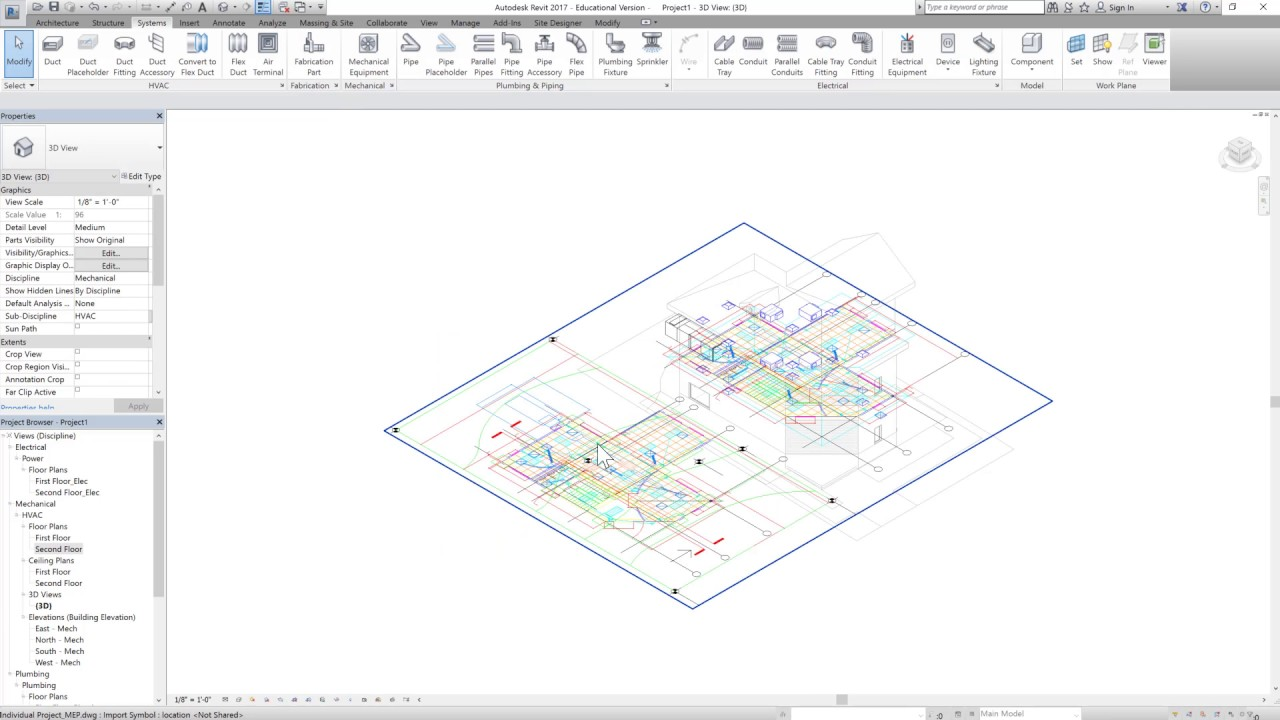 Revit 2017 Tutorials Beginner Mep Modeling 4 Hvac Duct Components Drawing Images First Floor