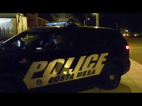 Costa Mesa Police USING SPOTLIGH TO INTERFERE  WITH PHOTOGRAPHERS,  GET DISMISSED 1st Amend Audit
