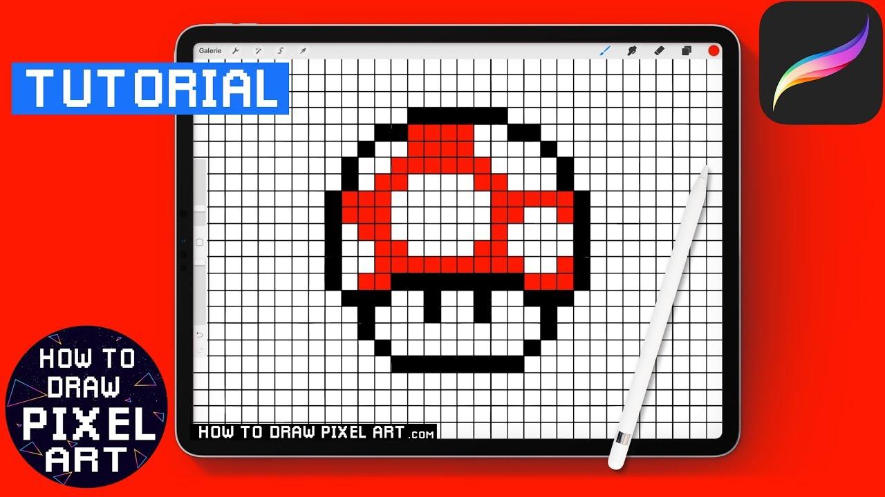 How To Draw A Mushroom Mario Pixel Art Ipad Procreate How To