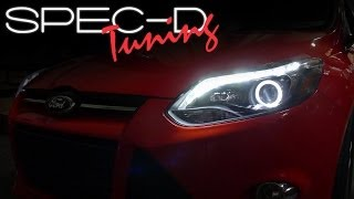 SPECDTUNING INSTALLATION VIDEO: 2012 FORD FOCUS HALO LED PROJECTOR HEADLIGHTS