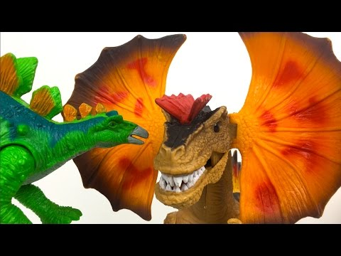 KID CONNECTION DINOSAUR SAFARI PLAYSET - DILOPHOSAURUS AND STEGASAURUS WITH T-REX ROAR - UNBOXING