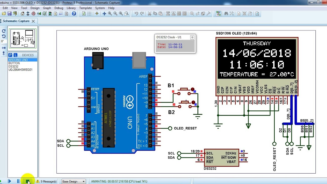 Arduino real time clock using DS3231 RTC and SSD1306 OLED