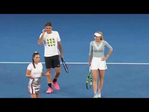 AO 2018 Kids Day Federer Djokovic Raonic Wozniacki 360p