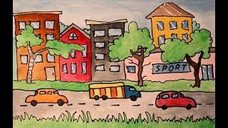 Урок рисования для детей. Город