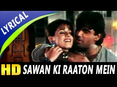 Sawan Ki Raaton Mein With Lyrics | Abhijeet, Kavita Krishnamurthy| Ek Tha Raja 1996 Songs | Neelam - YouTube