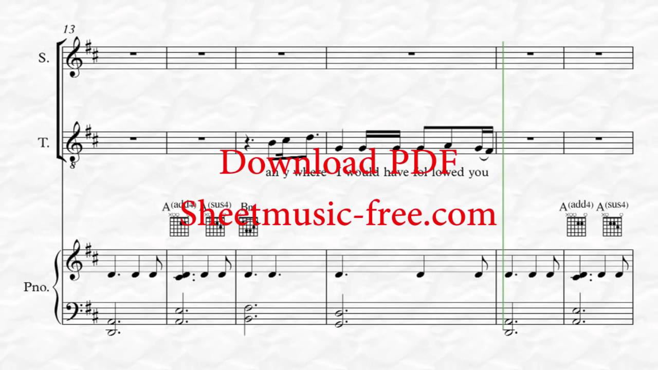 Download piano sheet music free for all the pretty little horses.