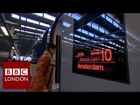The first ever London to Amsterdam service leaves St Pancras