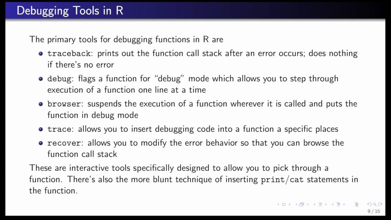 Debugging Tools in R