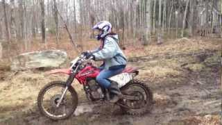 my girlfriend riding a dirt bike for the first time