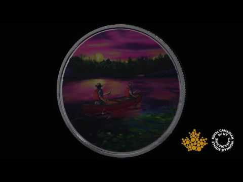 Great Canadian Outdoors: Sunset Canoeing - Pure Silver Glow-in-the-Dark Coin