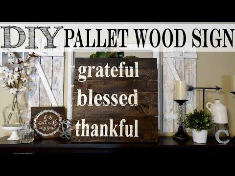 *DIY* Pallet Sign | Grateful Thankful Blessed