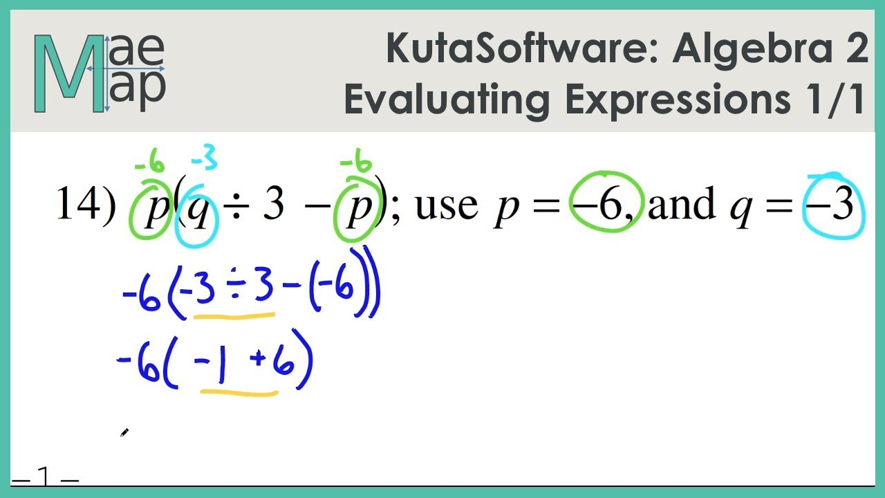 Kuta Software: Algebra 2- Evaluating Expressions