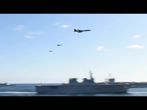 B-1 Bombers & F-18s Low-level Flyover – 3-Carrier US/Japan/Korea JOINT SHOW OF FORCE