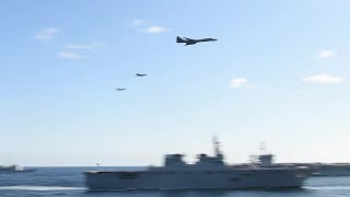 B-1 Bombers & F-18s Low-level Flyover - 3-Carrier US/Japan/Korea JOINT SHOW OF FORCE