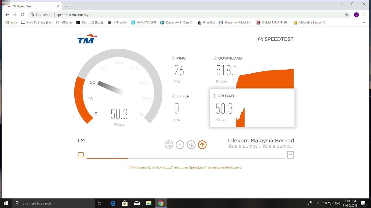 Tm Unifi 500mbps Speedtest In Sabah Malaysia Youtube