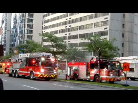MAJOR MONTREAL FIRE DEPT RESPONSE DOWNTOWN - 06 287 17