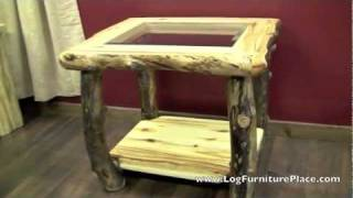 Aspen Estate Glass Insert Aspen Log End Table From Logfurnitureplace.com