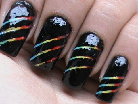Rainbow stripes how to use striping tape on nails youtube how to use striping tape on nails prinsesfo Image collections