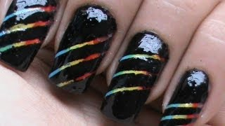 Rainbow Stripes! : How to Use Striping Tape on Nails?