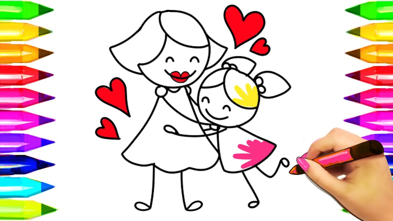 mom hugging child coloring pages mothers day colouring book for kids how to draw mom and kid 2017 - Child Coloring Pages